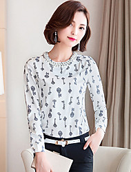 Women's Round Collar Chiffon Long Sleeve Drilling Beaded Blouses Shirt