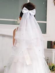 Свадебные вуали Один слой Вуали для причастия Закруглённый край Тюль Белый