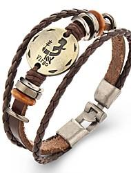 Punk Men's Bracelet PU Leather Bracelet Constellation Aquarius Pisces for Men Fashion Jewelry