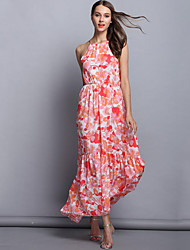 Women's Going out Vintage Swing Dress,Floral Strap Asymmetrical Sleeveless Pink Acrylic Summer