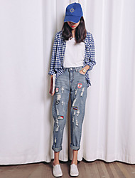 Women's Print Blue Jeans Pants,Street chic