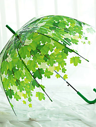Shade Transparent Umbrella Long Handle Green Leaf Transparent Umbrella Straight Rod Pvc Umbrella