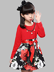 Girl's Cotton Spring/Autumn Long Sleeves Lace Cotton Princess Dress