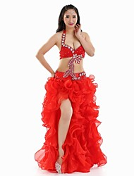 Belly Dance Outfits Women's Performance Polyester Flower(s) / Split Front 3 Pieces Red / White Belly Dance