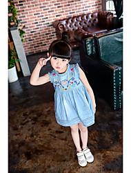 Menina de Vestido,Casual Bordado Algodão Verão Azul