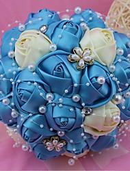 """Fleurs de mariage Rond Roses Bouquets Mariage Polyester 7.09""""(Env.18cm)"""