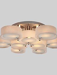ALAMOGORDO - Lustre Moderne Acrylique Fini Chromé - 9 slots à ampoule
