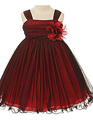 Ball Gown Knee-length Flower Girl Dress - Tulle Sleeveless Straps with Flower(s)