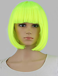 Short fluorescent green Wig Perruque Naturelle Synthetic Women Cute Fringe Straight Bob Cosplay Wig Heat Resistant Hair