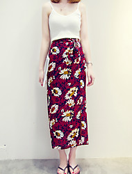 Women's Floral Red / Orange / Yellow Skirts,Boho Maxi