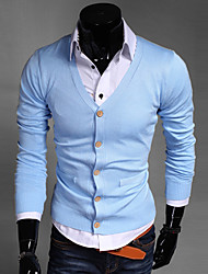 Men's Solid Casual / Sport Cardigan,Cotton / Polyester Long Sleeve Black / Blue / Green / Red / Yellow / Gray Sweater