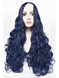 "Fashion Long Curly Blue Wig 24"" Long Curly Blue Hair Wig Synthetic Anime Hair Cosplay Wig for Women"