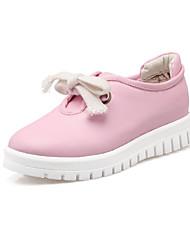 Черный / Розовый / Белый-Женская обувь-Для праздника / На каждый день-Полиуретан-На плоской подошве-На плокой подошве-На плокой подошве