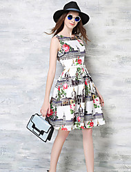 Women's Going out Vintage A Line Dress,Floral Round Neck Knee-length Sleeveless White Polyester All Seasons
