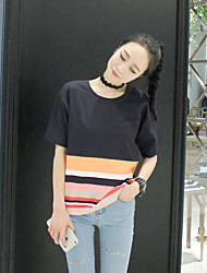 Women's Casual/Daily Simple Summer T-shirt,Color Block Round Neck Short Sleeve Multi-color Cotton / Linen Thin