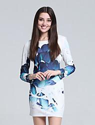 Women's Club Sexy Sheath Dress,Floral Round Neck Mini Long Sleeve Blue Cotton Fall High Rise Micro-elastic Thin