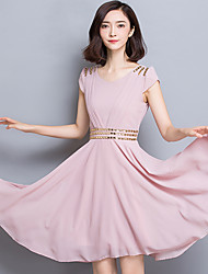Mousseline de Soie Balançoire Robe Femme Travail Sophistiqué,Couleur Pleine Col en V Mi-long Manches Courtes Bleu Rose Rouge Noir