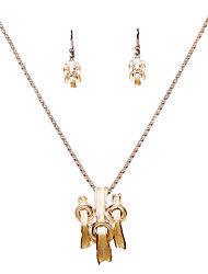 New European And American Alloy Gold Personality Irregular Necklace Earrings Set
