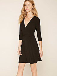Women's Going out / Party/Cocktail Vintage Sheath DressSolid V Neck Above Knee  Sleeve Polyester All SeasonsMid
