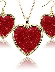 2016 Fashion Jewelry Set for Women Golden Frame Love Heart Fluorescent Jewelery Sets