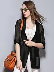 das mulheres Sybel casual / street diária blazer chique verão, capuz sólida ¾ manga de poliéster preta fina