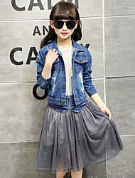 Girl's Cotton Spring/Autumn Casual Cowboy Jacket Denim Coat And Lace Patchwork Skirt Two-piece Set