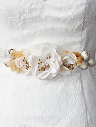 Satin Wedding / Party/ Evening / Dailywear Sash - Beading / Appliques / Floral Women's Sashes