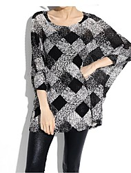 Damen Lang Pullover-Übergröße Einfach / Street Schick Schachbrett Schwarz Rundhalsausschnitt ¾-Arm Polyester Frühling / Herbst Dünn
