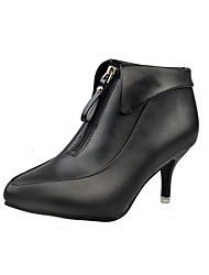 Women's Heels Spring / Fall Heels / Pointed Toe Leatherette Outdoor / Office & Career / Casual Stiletto Heel Chain Black