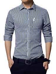 Men's Striped Casual / Work / Formal / Sport Shirt,Cotton Long Sleeve Blue / Red