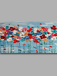 """Stretched (Ready to hang) Hand-Painted Oil Painting 40""""x20"""" Canvas Wall Art Modern Abstract Flowers Blue Red"""