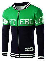 Men's Color Block Casual / Sport Cardigan,Wool / Cotton Long Sleeve Green / Orange / Red Zipper Wool Sweater
