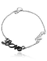 Bracelet Chaînes & Bracelets Argent sterling Forme de Lettres Amour Mode Vintage Mariage Soirée Quotidien Décontracté Bijoux CadeauNoir