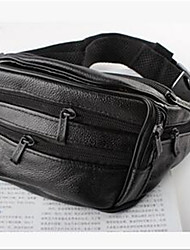 Men Waist Bag PU Casual Outdoor Black Brown