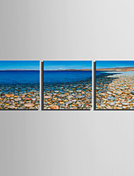 E-HOME® Stretched Canvas Art Stone Beach Of Coastline Decoration Painting  Set of 3
