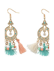 Vintage Bohemian Round Beads Drop Earrings Colorful Beads Tassel Dangle Earrings Fashion Jewelry For Women