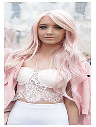Fahshion Pink Long Wave Synthetic Europue and American Women's Dailry Wearing Wig