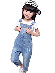 Girl's Cotton Spring/Autumn Fashion Jeans Pants Suspender Trousers Patchwork Solid Color Overalls