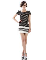 Women's Work Bodycon Dress,Polka Dot Crew Neck Above Knee Short Sleeve Multi-color Polyester All Seasons
