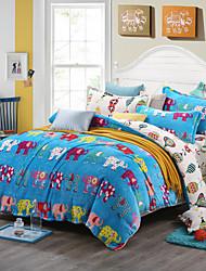 Elephant Print Bedlinen Fleece winter bedding set queen king size soft bedsheet pillowcase Duvet cover 4pcs bed set