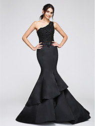 Mermaid / Trumpet One Shoulder Chapel Train Satin Formal Evening Dress with Appliques by TS Couture®
