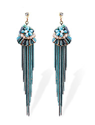 TIANSHE Women'S European and American fashion long Bohemia fringe Earrings Alloy 1 pair