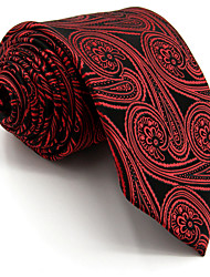 Men's Tie Red Floral 100% Silk Necktie Wedding Casual For Men Jacquard Woven