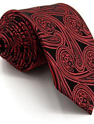 Men's Tie Red Floral 100% Silk Necktie Wedding Casual For Men Jacquard Woven
