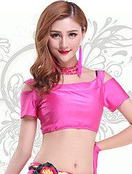 Belly Dance Tops Women's Training Chinlon Pleated 1 Piece Fuchsia / Green Belly Dance Short Sleeve Natural Top