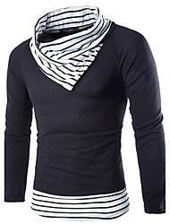 Для мужчин На каждый день Простое Обычный Пуловер Контрастных цветов,Белый Бежевый Хомут Длинный рукав Шерсть Осень Зима Средняя