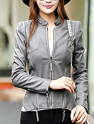 Street chic Fall Leather Jackets,Solid Stand Long Sleeve Black / Gray PU Medium