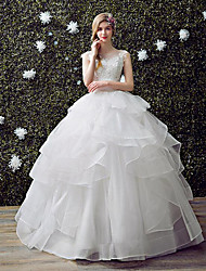 A-line Wedding Dress Floor-length Scoop Lace / Organza / Tulle with Lace