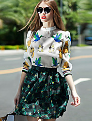 Feminino Conjunto Saia Suits Informal Moda de Rua Primavera,Estampa Animal Verde Raiom / Poliéster Colarinho Chinês Manga ¾ Média