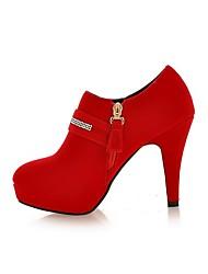 Damen-Stiefel-Kleid Lässig-Kunstleder PU-BlockabsatzSchwarz Rot